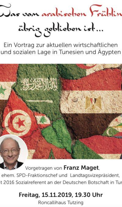 Vortrag zur aktuellen wirtschaftlichen und sozialen Lage in Tunesien und Ägypten am 15.11.