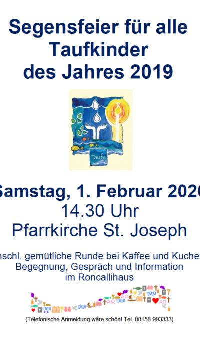 Segensfeier für alle Taufkinder am 01.02.2020