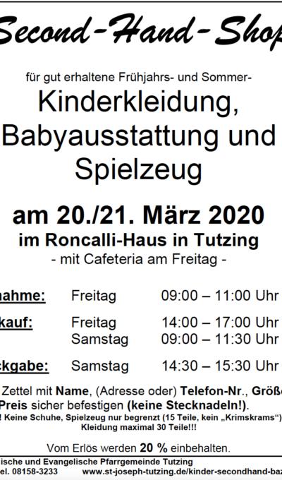 Second-Hand-Shop am 20.03. und 21.03.2020
