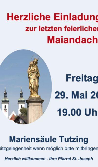 Einladung zur feierlichen Maiandacht am 29.05.2020