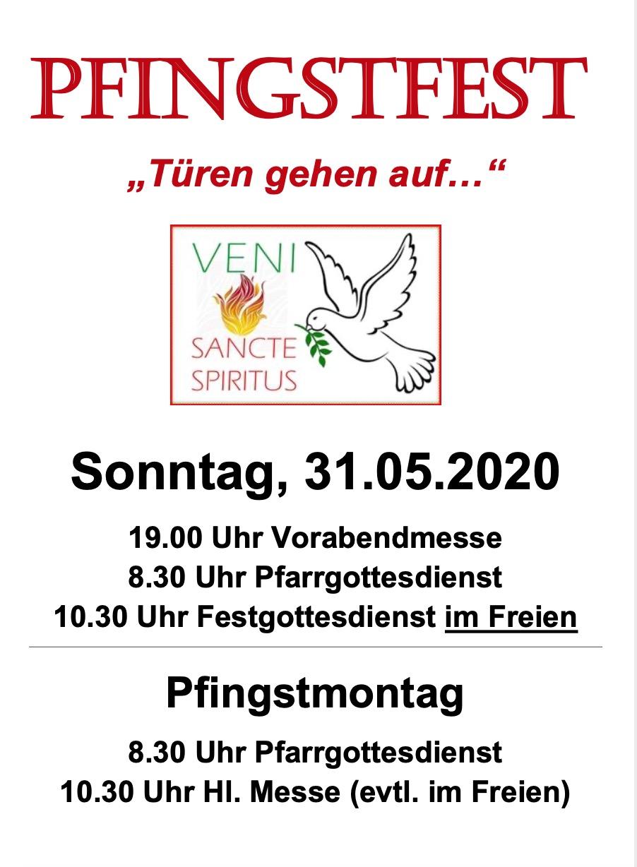 Pfingstfest ab 31.05.2020