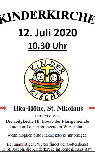 Kinderkirche am 12.07. 2020 Ilka-Höhe