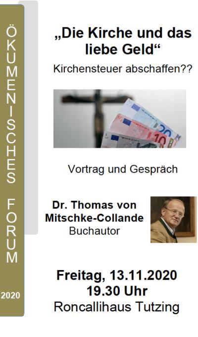 Vortrag-Die Kirche und das liebe Geld am 13.11.2020